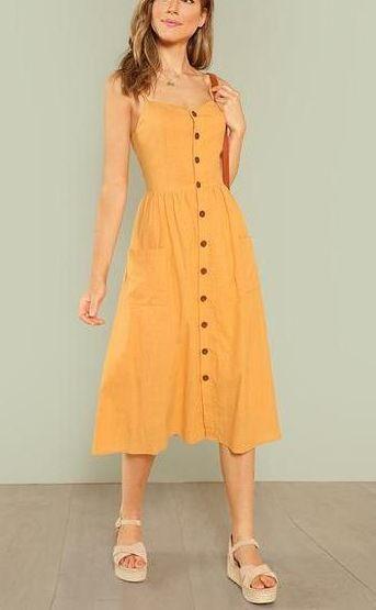 Vee Boho Button Up Midi Dress in 2020 | Yellow midi dress, Yellow .