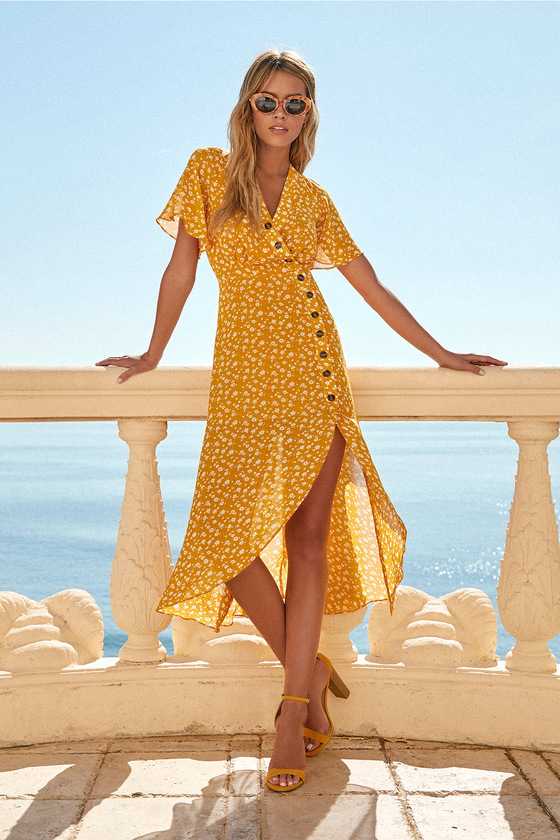 After-Bloom Delight Golden Yellow Floral Print Midi Dress | Yellow .