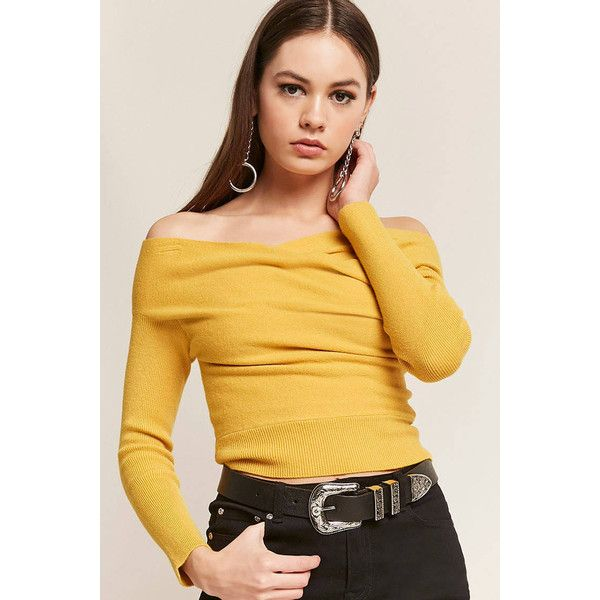 Forever21 Ribbed Knit Crisscross Off-the-Shoulder Crop Top (44 AUD .