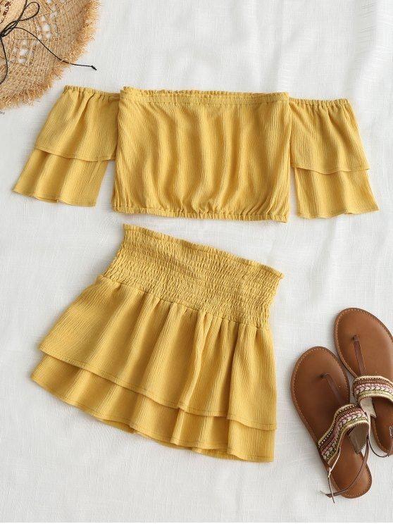 Up to 80% OFF! Off Shoulder Top And Smocked Skirt Set. #Zaful .