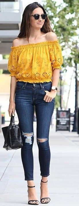 55 Trending And Stunning Outfit Ideas For This Summer: Yellow Lace .