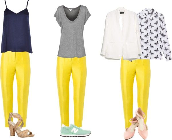 How to wear yellow pants | Yellow pants outfit, Yellow jeans .