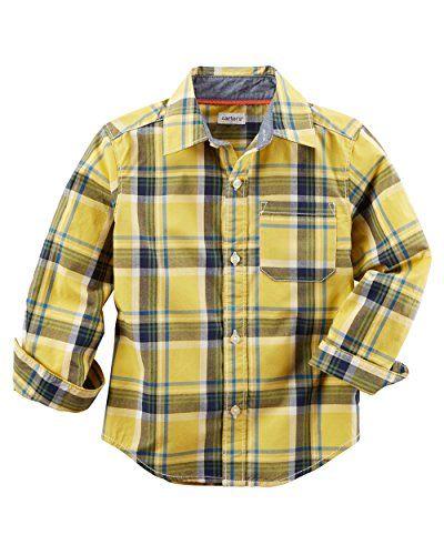 Carters Little Boys Plaid ButtonFront Shirt Yellow Toddler 2t .