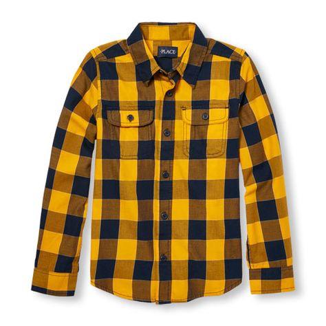 s Boys Long Sleeve Plaid Twill Button-Down Shirt - Yellow - The .