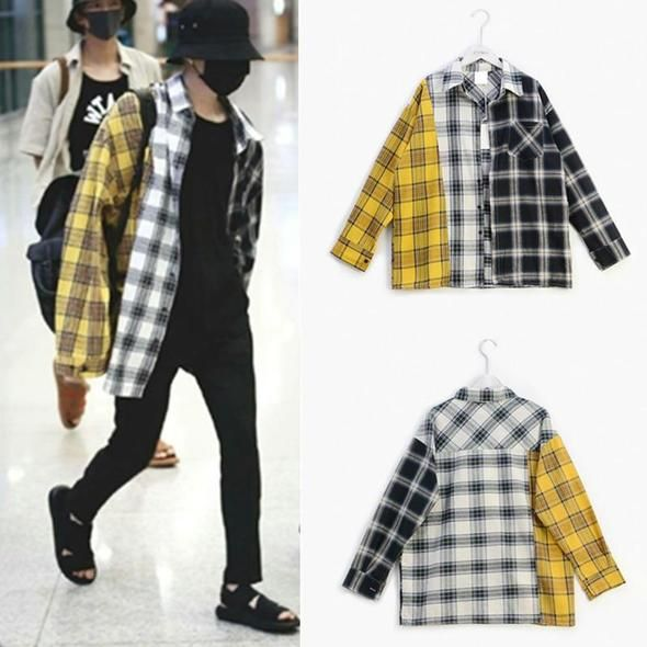 New Kpop BTS Bangtan Boy BT21 SUGA Same Unisex Fashion Plaid .