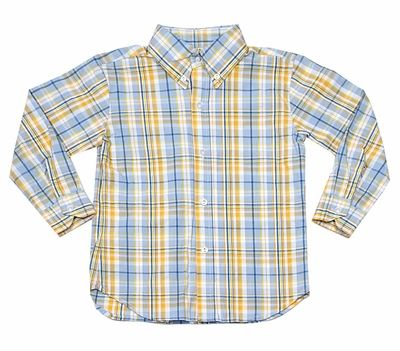 Le Za Me Boys Blue / Yellow Plaid Dress Shirt | My boy blue, Boys .