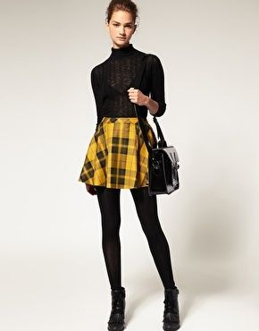Plaid + mustard yellow= A happy ShareBear- ASOS Tartan Skirt .