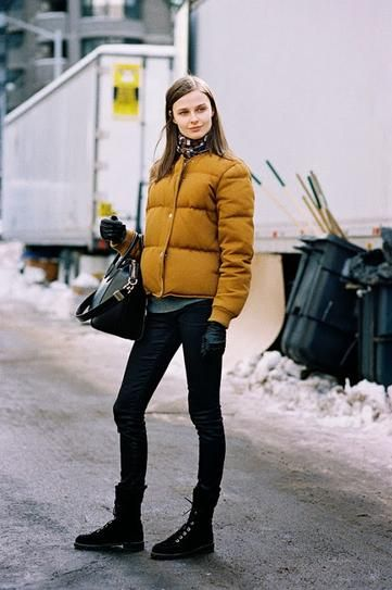 20 Outfits That Prove Puffer Coats Can be Stylish | Yellow puffer .