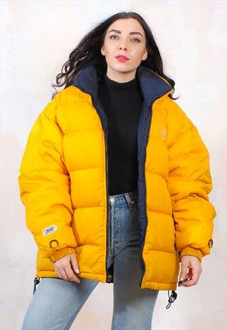 VINTAGE 90S YELLOW OVERSIZED REVERSIBLE PUFFER JACKET | Puffer .