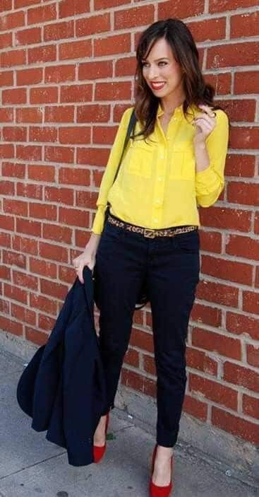 Pin by Jose Fernandez on Moda | Yellow blouse outfit, Yellow shirt .