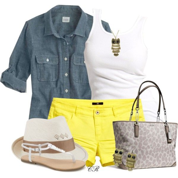 Yellow Shorts | Yellow shorts outfit, Yellow shorts, Short outfi