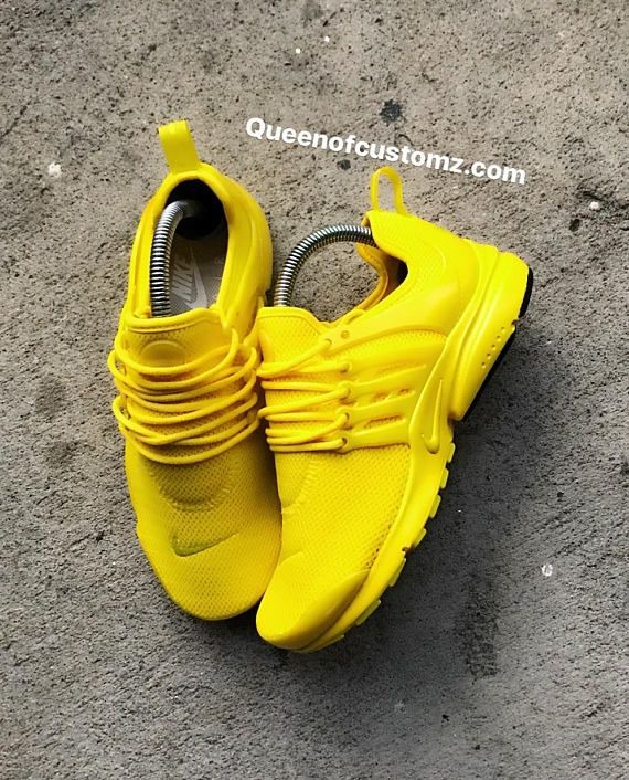 Sunshine Yellow Nike Presto custom | Yellow shoes outfit, Yellow .