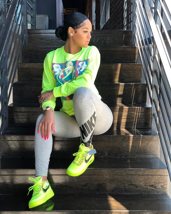 Price of Nike Off-White Air Force 1 Low / OW Volt | Black girl .