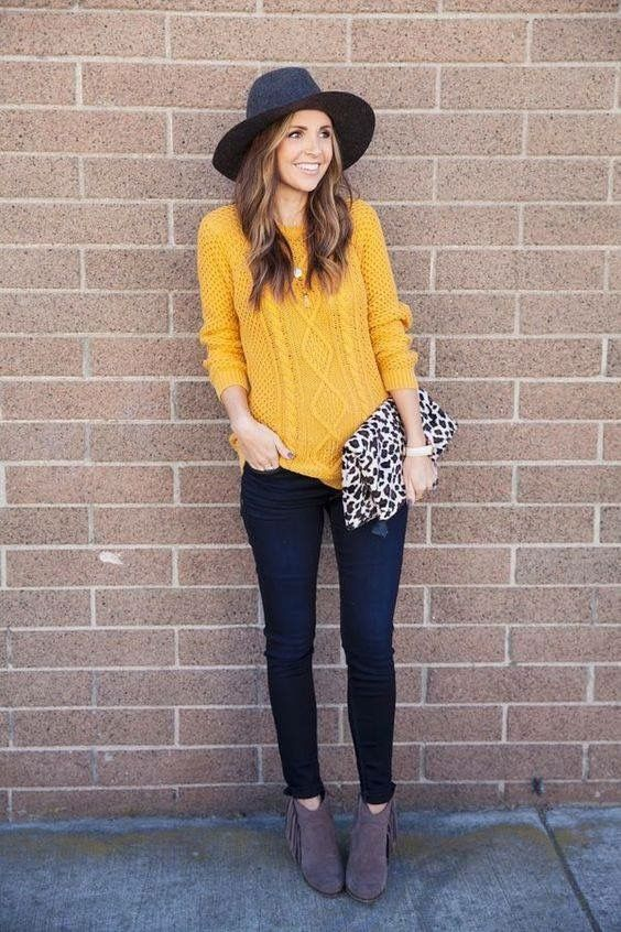 Cute falling outfit. I love the yellow sweater and I always love .