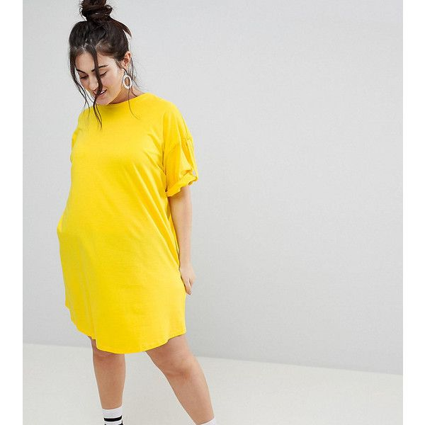 ASOS CURVE Ultimate Rolled Sleeve T-Shirt Dress With Tab ($24 .