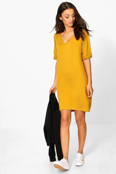 How to Wear Yellow T Shirt Dress: 15 Cheerful Outfit Ideas - FMag.c