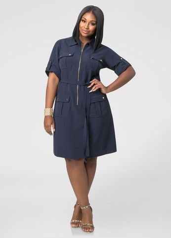 Cargo Zip Front Dress | Zip front dress, Denim attire, Plus size .