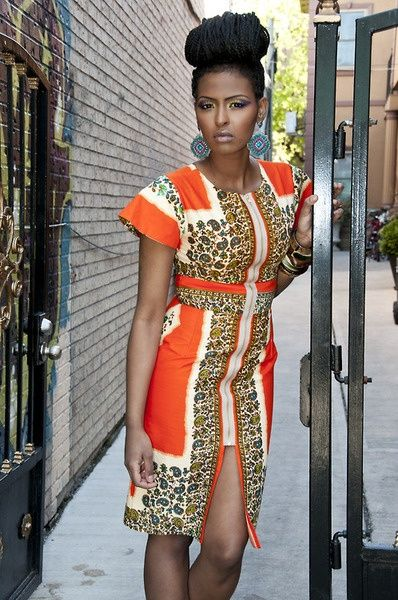 Zip front orange ankara dress (With images) | African fashion week .
