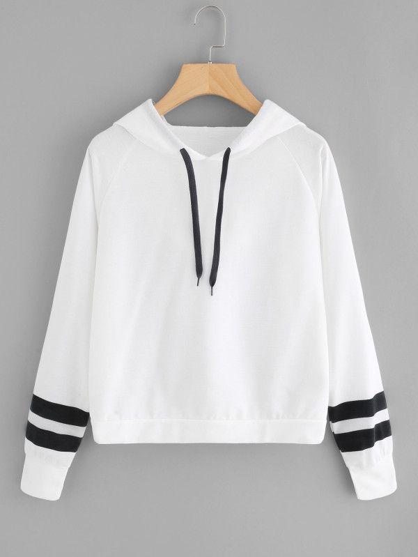 Varsity Striped Raglan Sleeve Hoodie -SheIn(Sheinside) Boho .