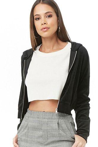 Cropped Velvet Zip-Up Hoodie | Zip hoodie outfit, Cropped hoodie .