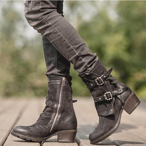 Women's Fashion Vintage Buckle Side Zipper Boots | Womens biker .